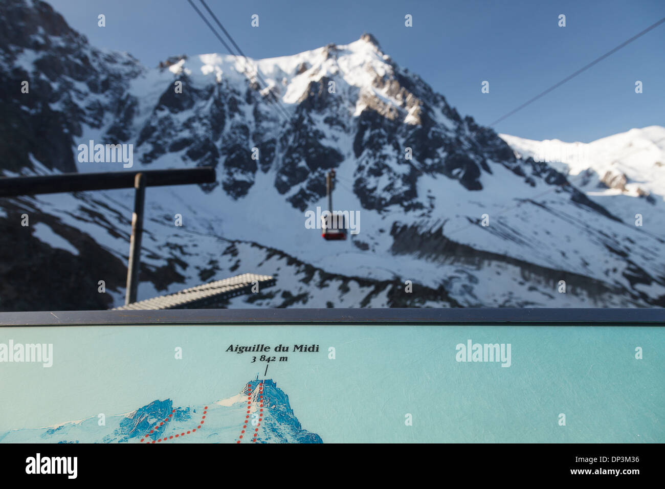 Aiguille du midi cable car - Panoramic Mont-Blanc Gondola, Chamonix, French Alps, Savoie, France, Europe - Stock Image