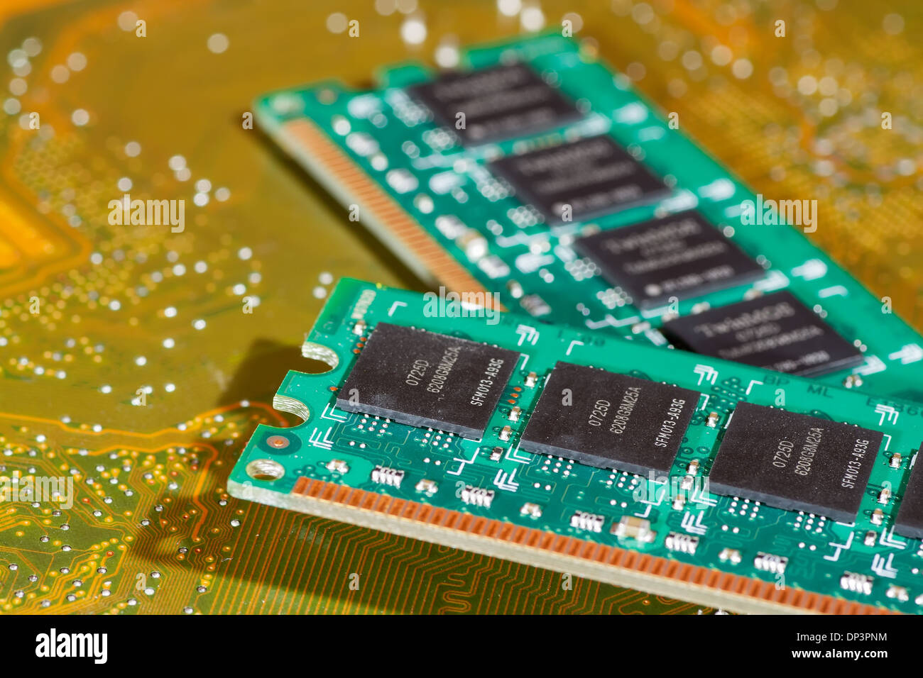 macro photography of two ram board on pcb motherboard - Stock Image