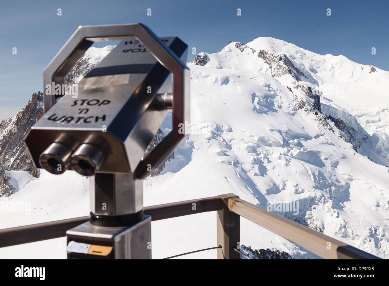View, Aiguille du midi cable car - Panoramic Mont-Blanc Gondola, Chamonix, French Alps, Savoie, France, Europe - Stock Image