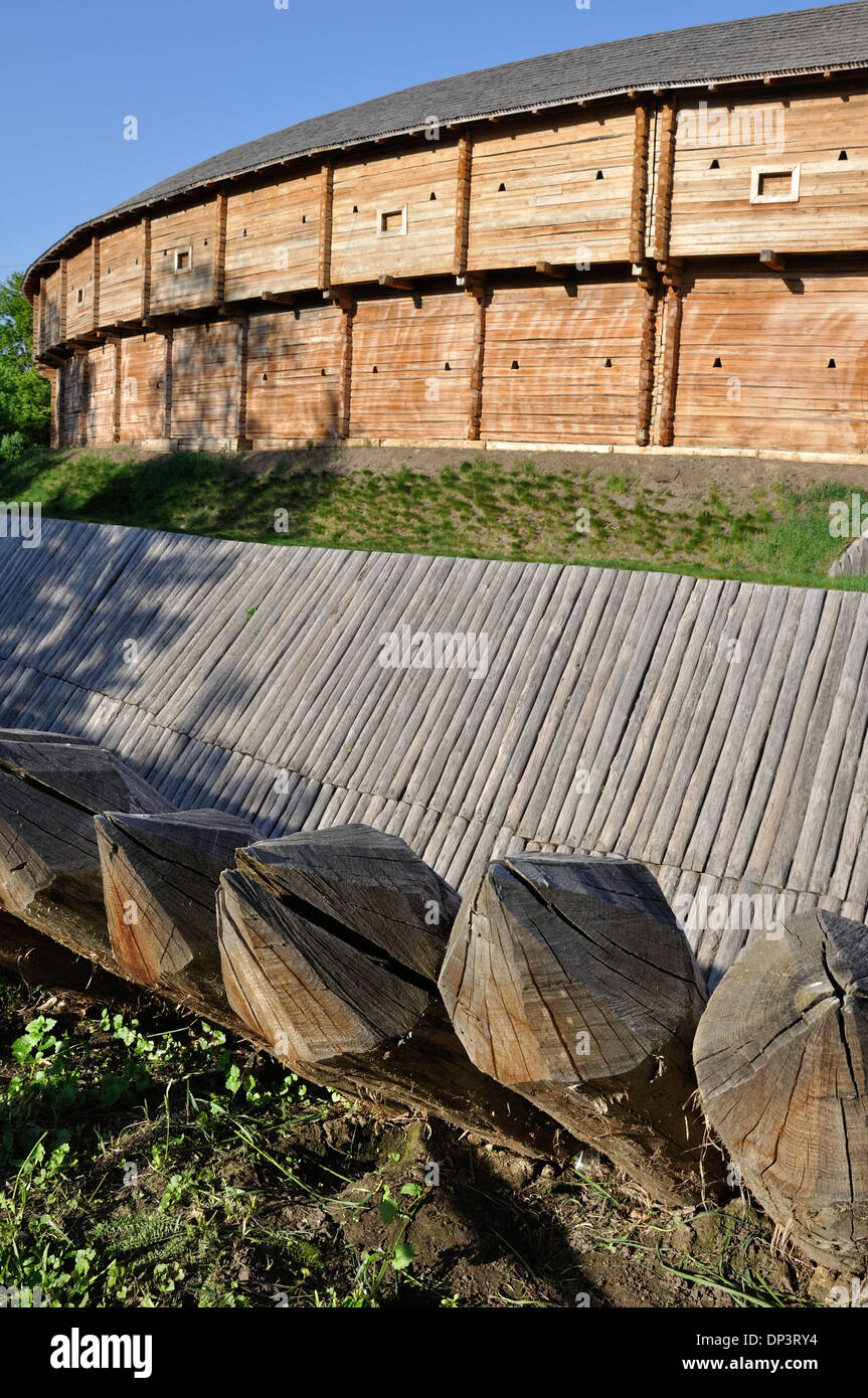 Sharp Wooden Paling As Part Of Old Fort Fence Stock Photo