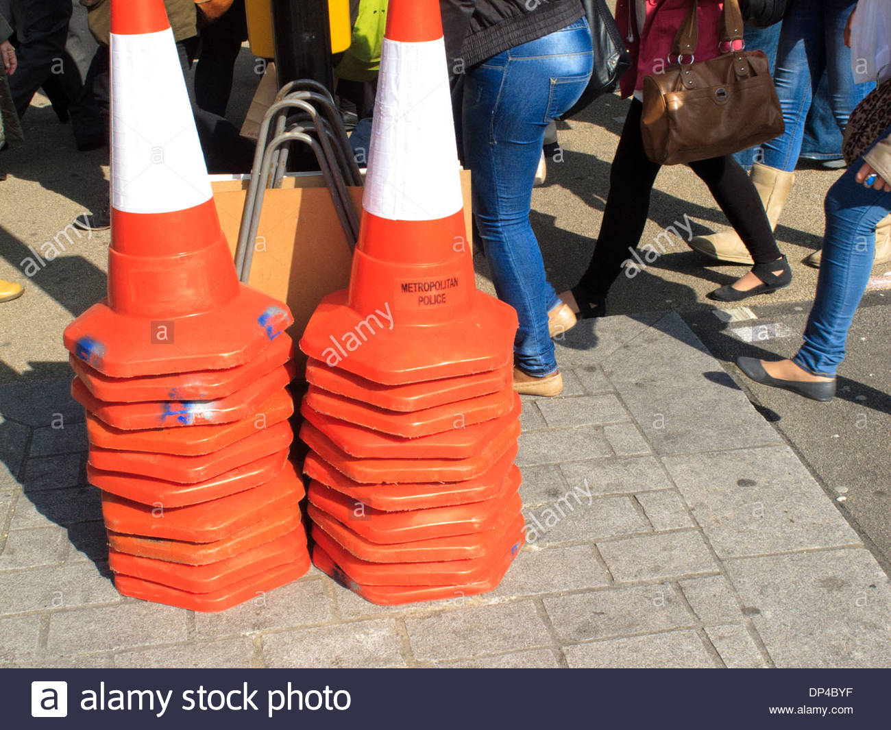 two stacks of traffic cones - Stock Image