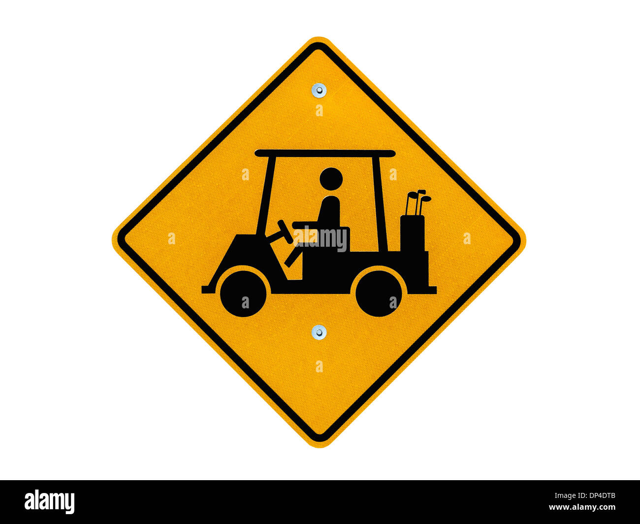 Golf cart crossing caution road sign isolated with clipping path. - Stock Image