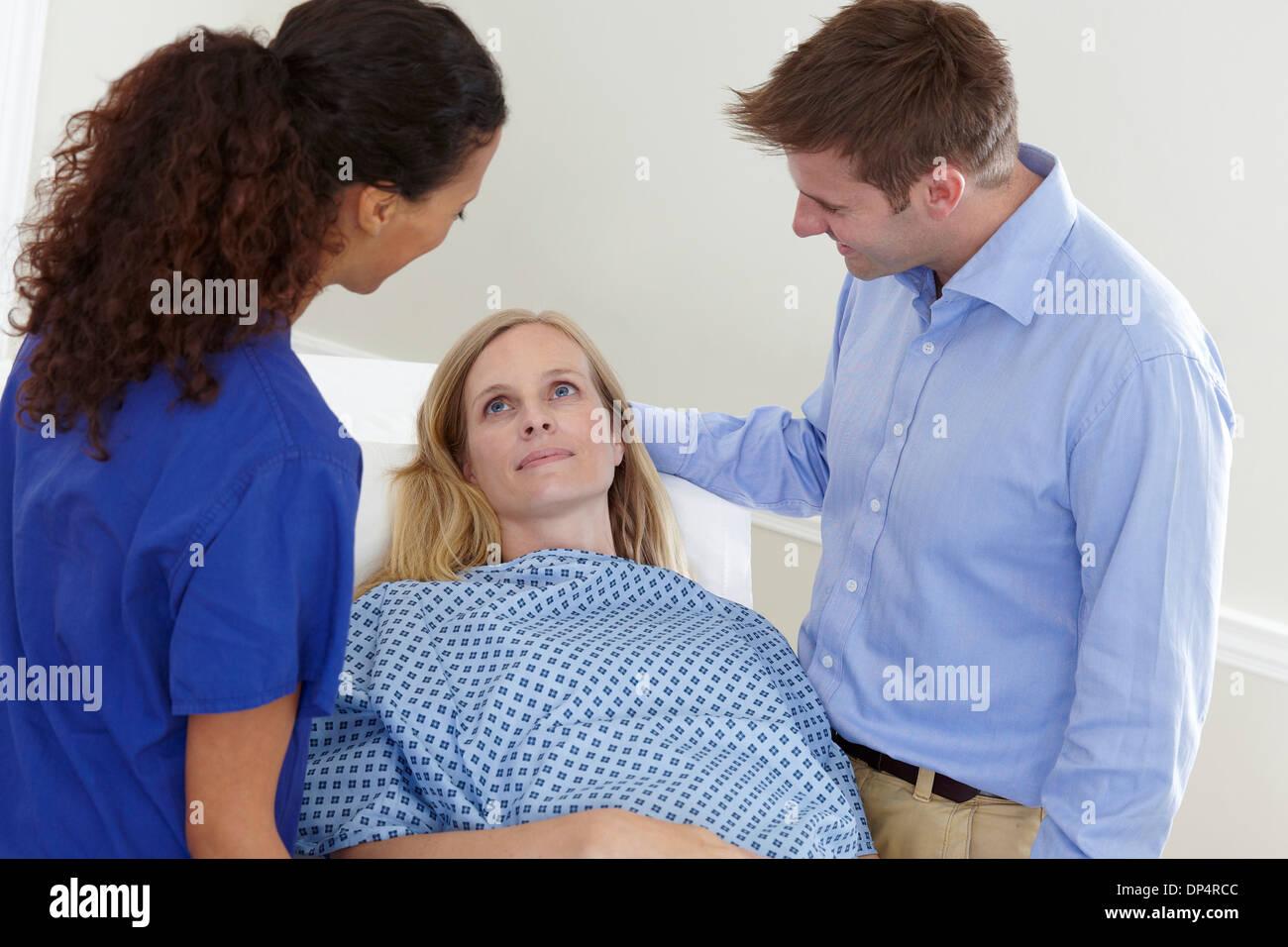 Woman preparing for medical procedure - Stock Image