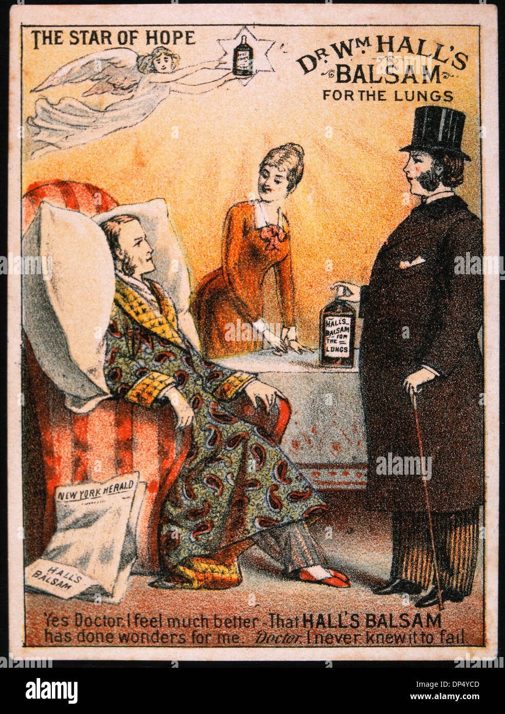 Male Patient Being Treated By Doctor Dr Wm Halls Balsam For The Lungs Vintage Trade Card Circa 1900