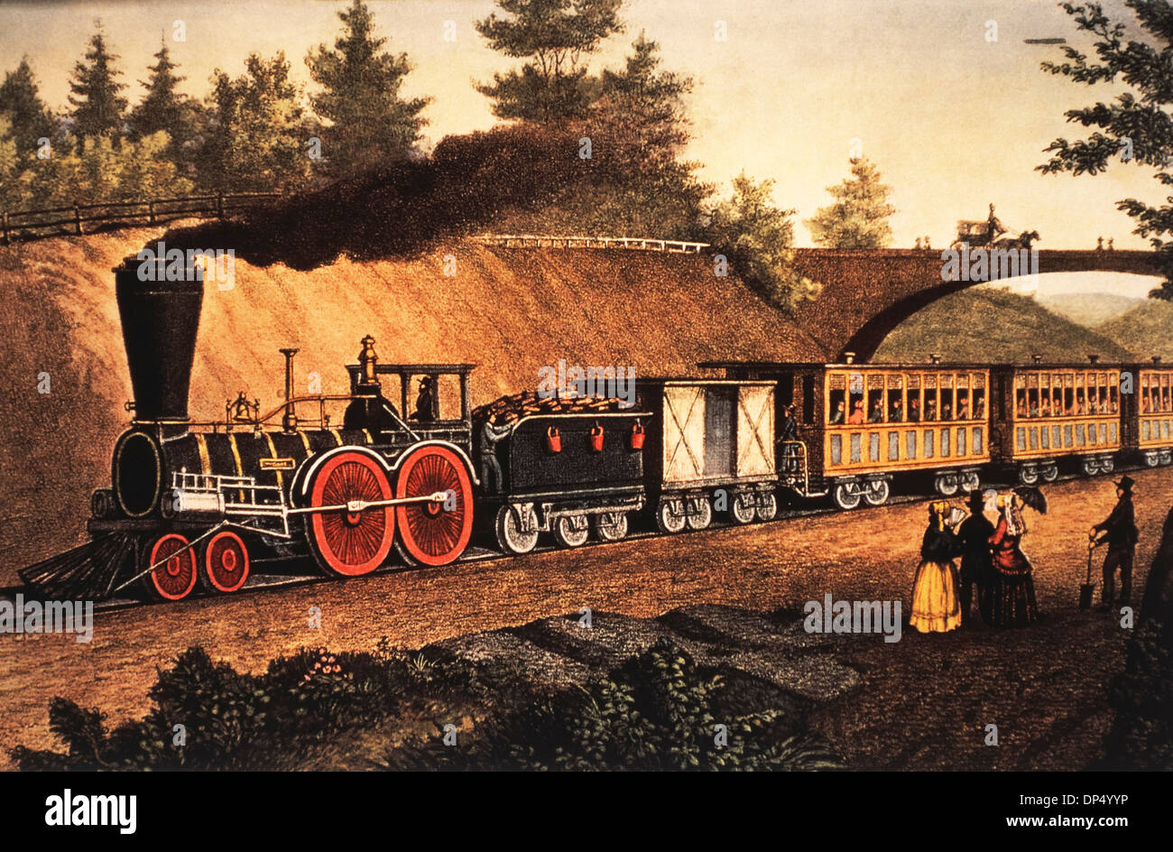 The Express Train, Lithograph, Currier & Ives, 1871 - Stock Image