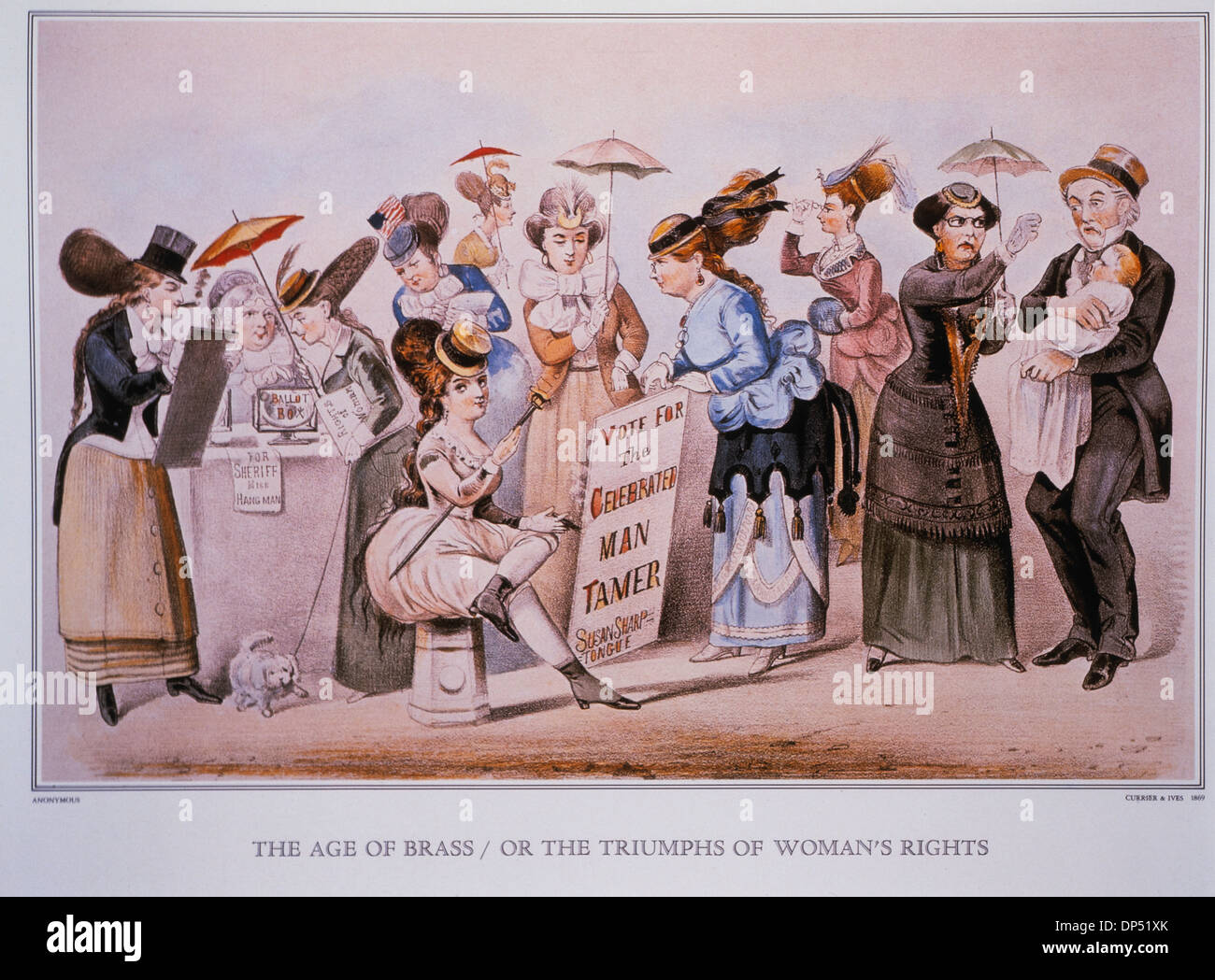 The Age of Brass or The Triumphs of Woman's Rights, Lithograph, Currier & Ives, 1869 - Stock Image