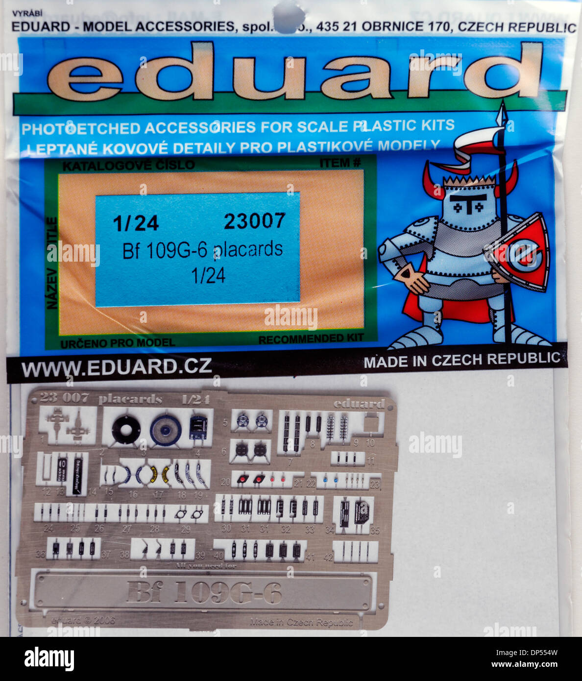 Metal Photo-etched scale model parts - Eduard 1/24th Scale Luftwaffe Me-109 Cockpit Details - Stock Image