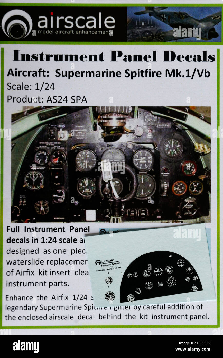 Scale Modelling Aftermarket Decals - 1/24th scale Spitfire Instrument Panel Cockpit Details - Stock Image