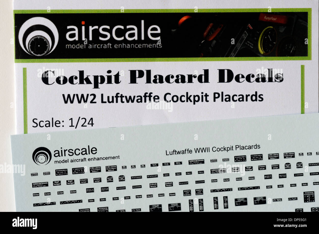 Scale Modelling Aftermarket Decals - 1/24th scale Luftwaffe Cockpit Details - Stock Image