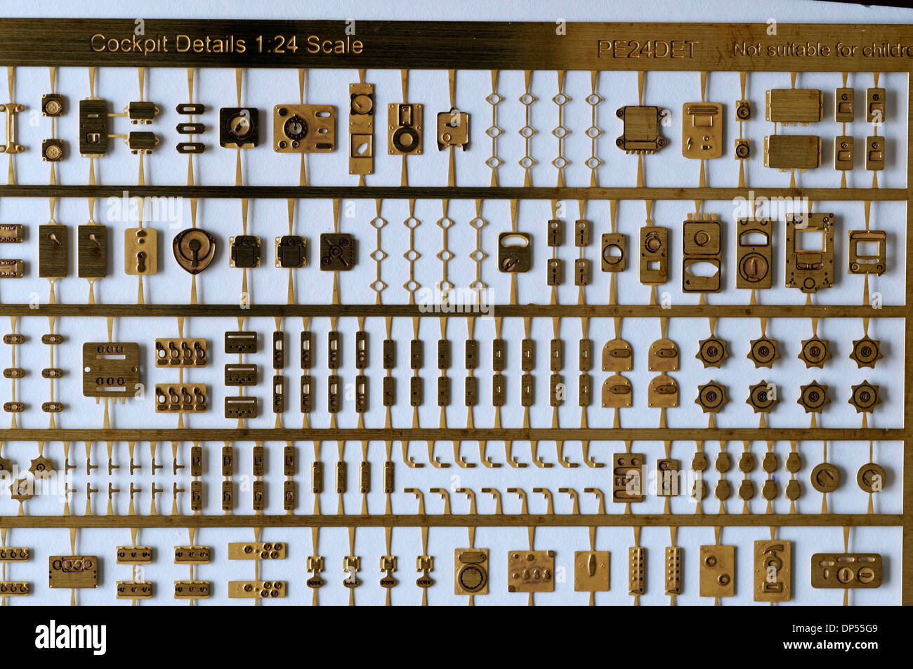 Metal Photo-etched scale model parts - 1/24th Scale Cockpit Details - Stock Image