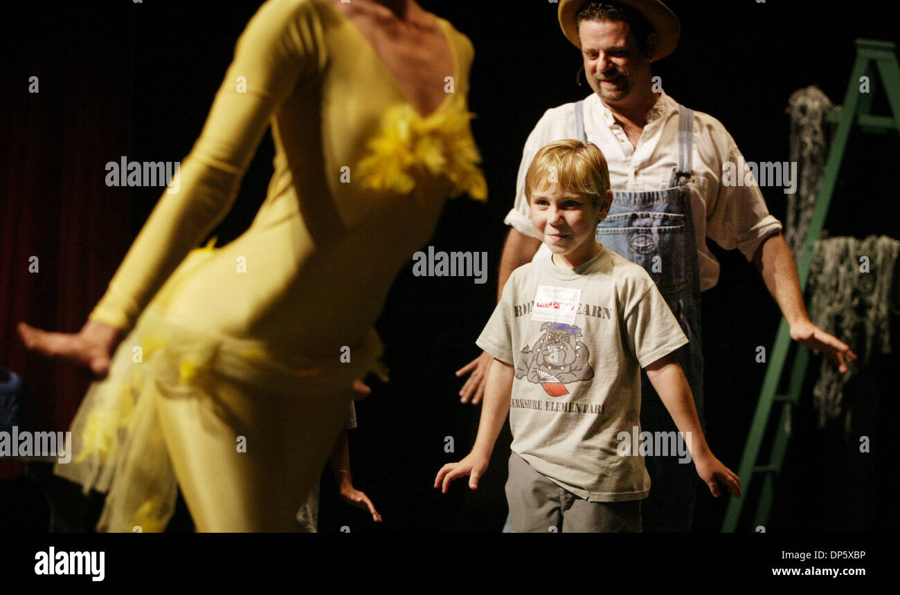 Sep 27, 2006; West Palm Beach, FL, USA; With help from narrator George Cripps, Birkshire Elementary first grader David Fouquart, 6, immitages Trina Jennings, the duck in the Ballet Florida production of Peter and the Wolf at The Marshall E. Rinker, Sr. Playhouse at the Kravis Center for the Performing Arts on Wednesday.  Mandatory Credit: Photo by Alyssa Schukar/Palm Beach Post/ZUM - Stock Image