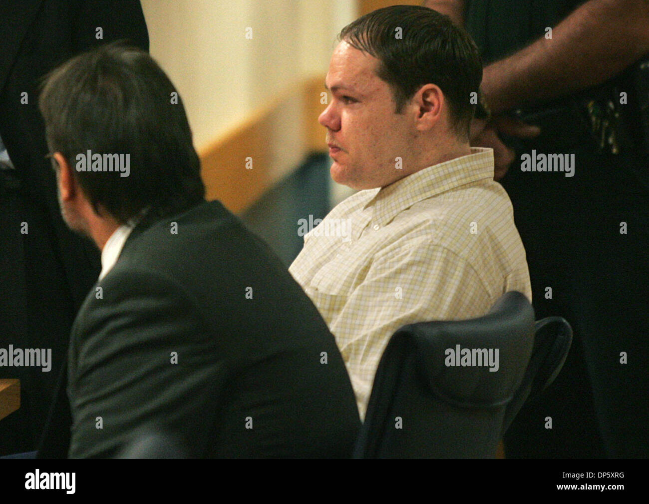 Sep 28, 2006; Stuart, FL, USA; A teary-eyed EUGENE MCWATTERS sits at the defense table after guilty verdicts were returned by a jury in his triple murder trial at the Martin County Courthouse thursday morning.  Mandatory Credit: Photo by David Spencer/Palm Beach Post/ZUMA Press. (©) Copyright 2006 by Palm Beach Post - Stock Image