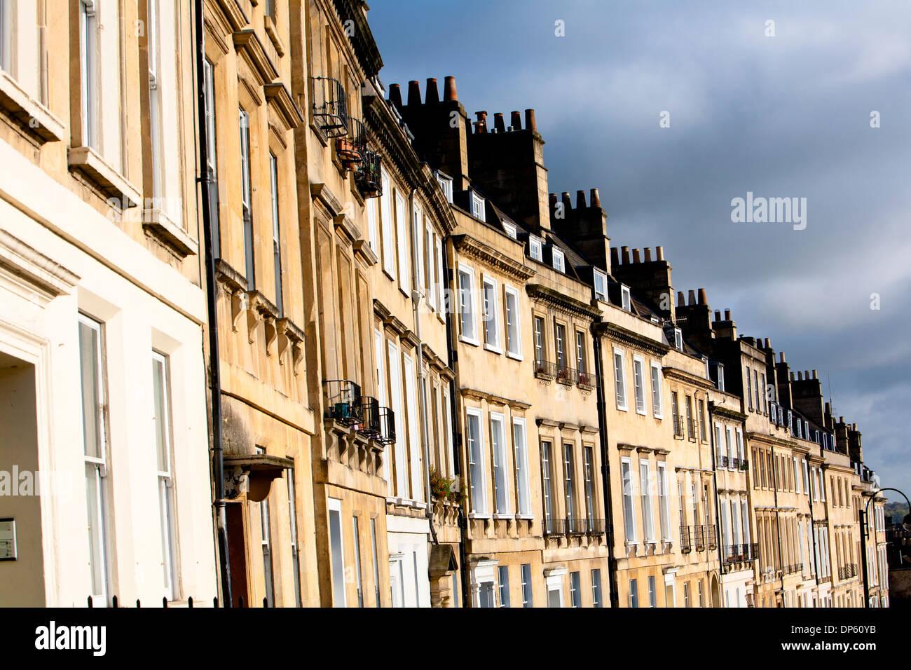 Row of Georgian Townhouses in Bath, England, UK - Stock Image