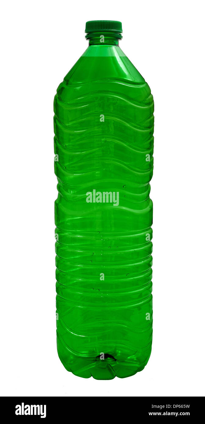 green Water bottle isolated on white background - Stock Image