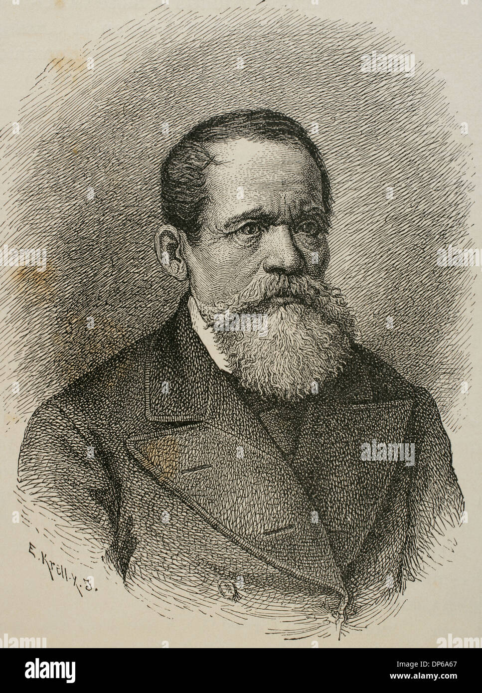 Heinrich Laube (1806-1884). German writer and theater director. Engraving. - Stock Image