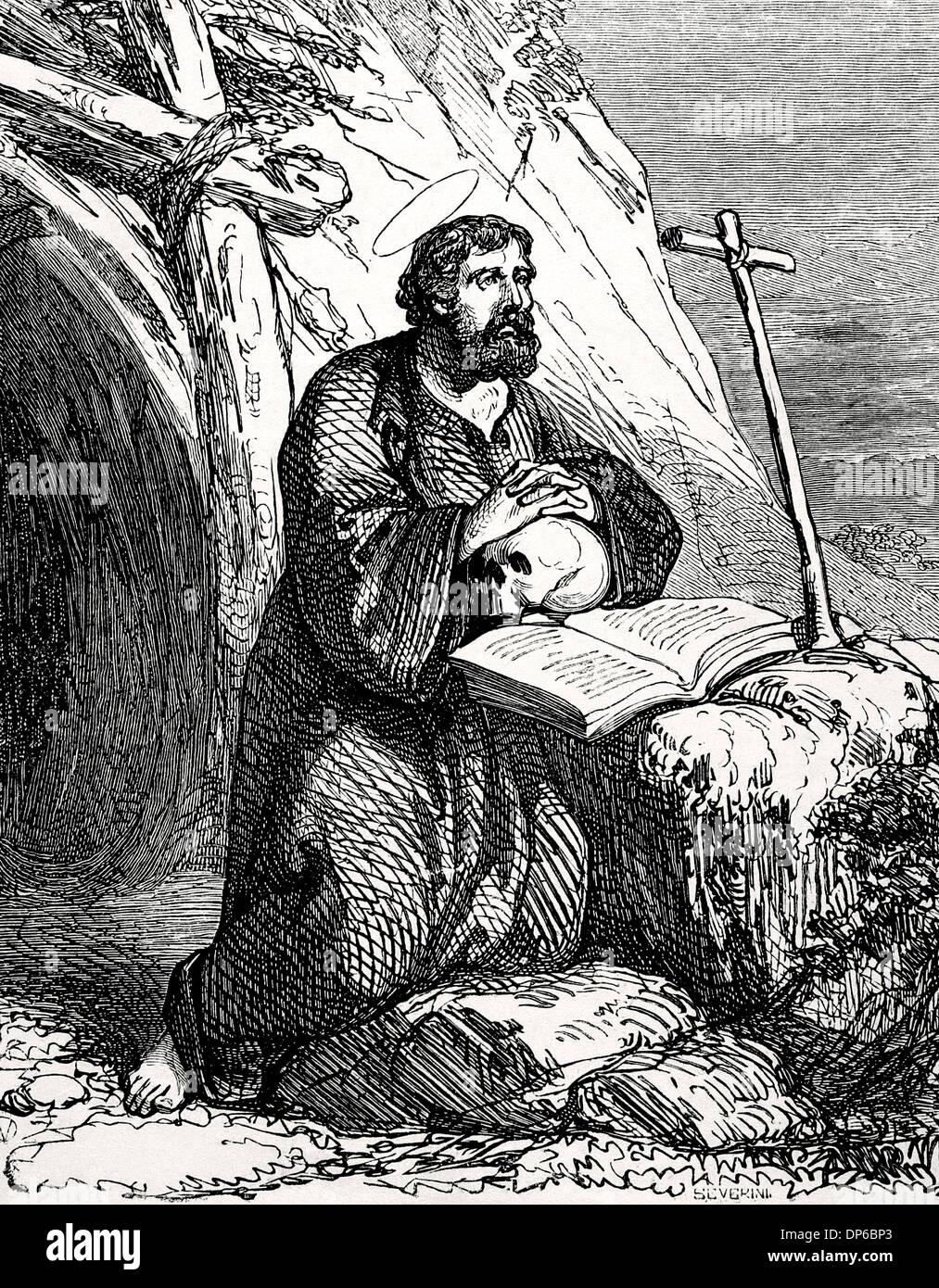 John the Presbyter or John the elder (died 362). Priest and Christian martyr. Engraving Severini. 'Ano Cristiano,' 1852. - Stock Image