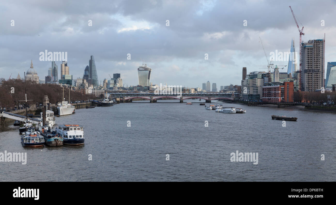 View From Waterloo Bridge Of The City Of London And The