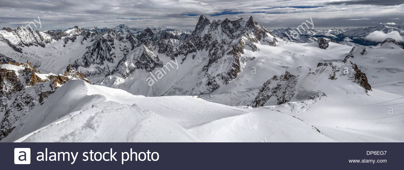 Panoramic view of the Mont-Blanc mountain range from the Aiguille du Midi - Chamonix (France) - Stock Image