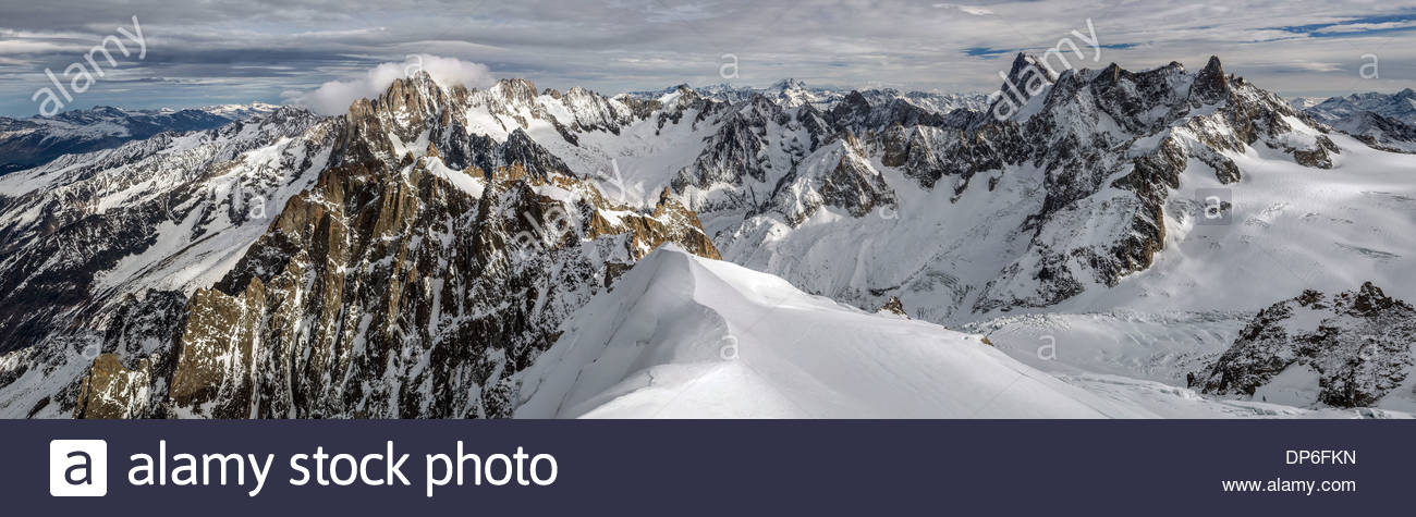 Panoramic view of the Mont-Blanc mountain range from the Aiguille du Midi - Chamonix (France) Stock Photo