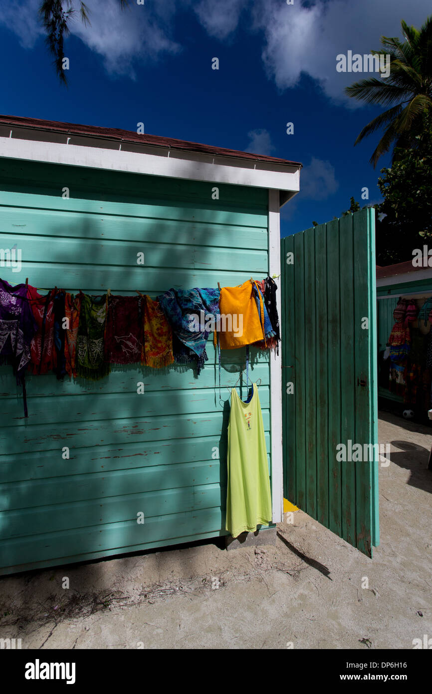 Hawkers shops along Jolly Beach resort and spa, Bolans Village, Antigua, Leeward Islands, West Indies - Stock Image
