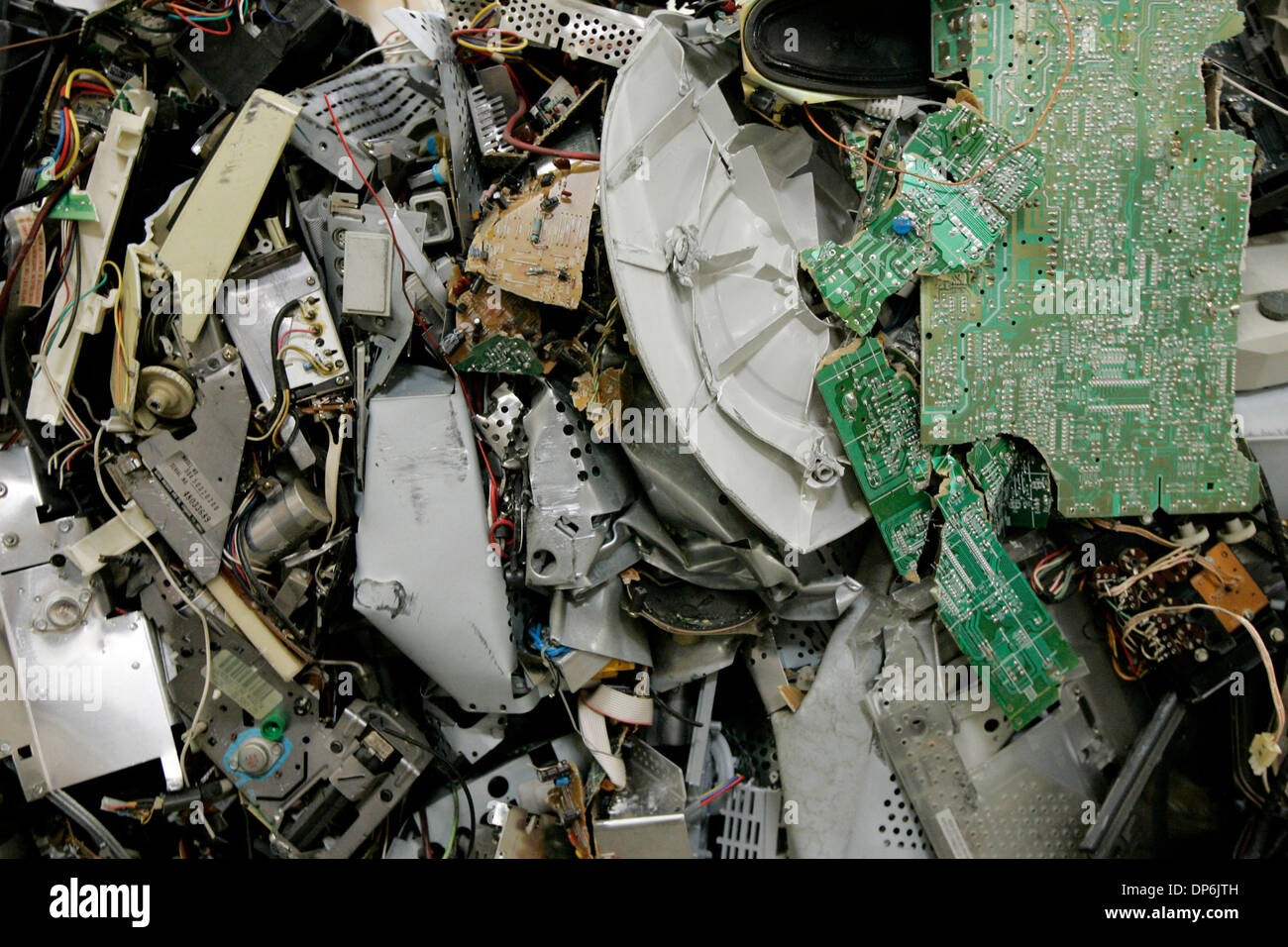 Oct 17, 2006; Rancho Cucamonga, CA, USA; This is a detail picture of bails made from disassembled electronics at Amandi, an e-waste recycling company, on Tuesday in Rancho Cucamonga, California. Electronics are taken apart and sorted and crushed into bails where they will be taken to other company's for further recycling. Mandatory Credit: Photo by Eduardo Contreras/SDU-T/ZUMA Pres - Stock Image