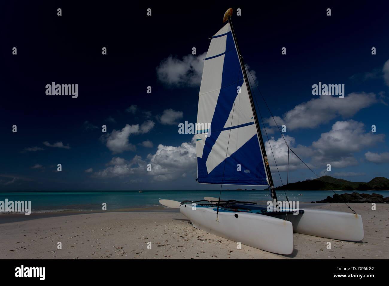 Hobie Catamaran on Jolly Beach , Jolly Beach resort and spa, Bolans Village, Antigua, Leeward Islands, West Indies - Stock Image