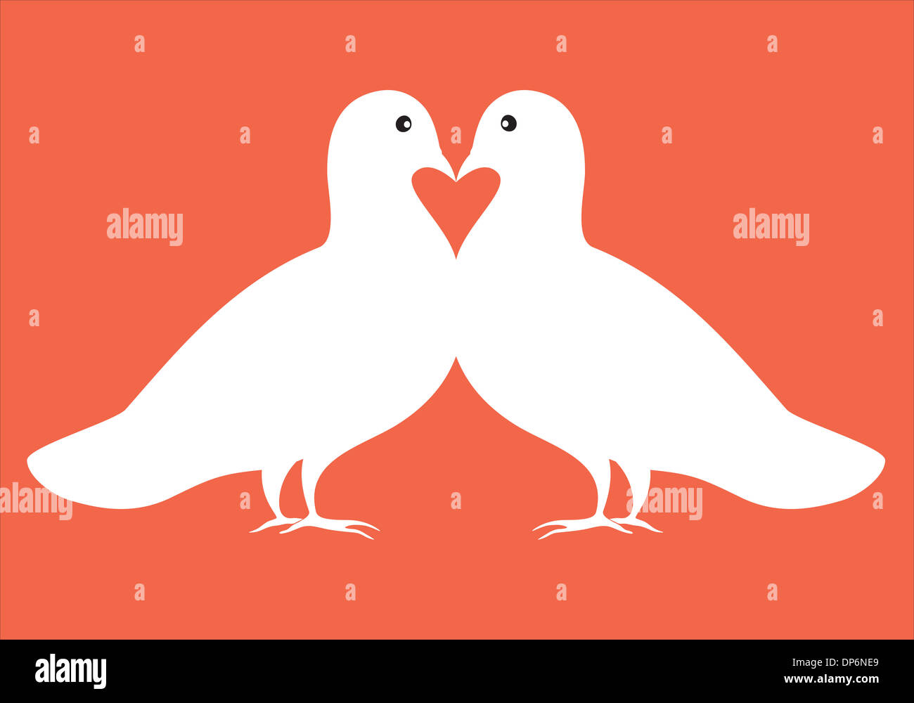 Illustration Of White Doves Pair In Love With Red Heart Symbol Stock