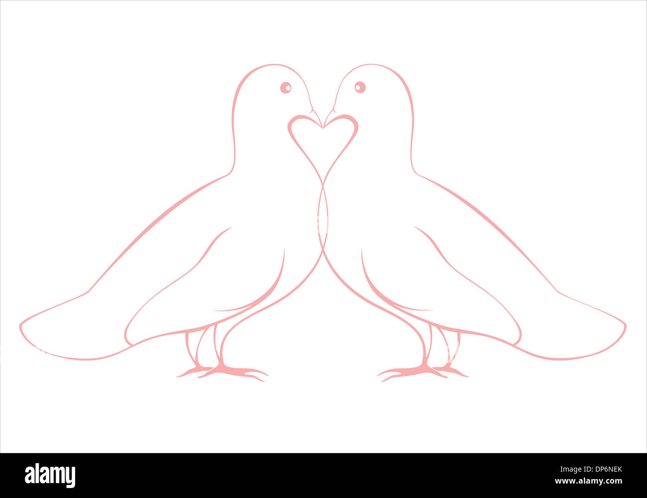 pair of doves in love illustration with a heart symbol, Valentines day or wedding card design - Stock Image