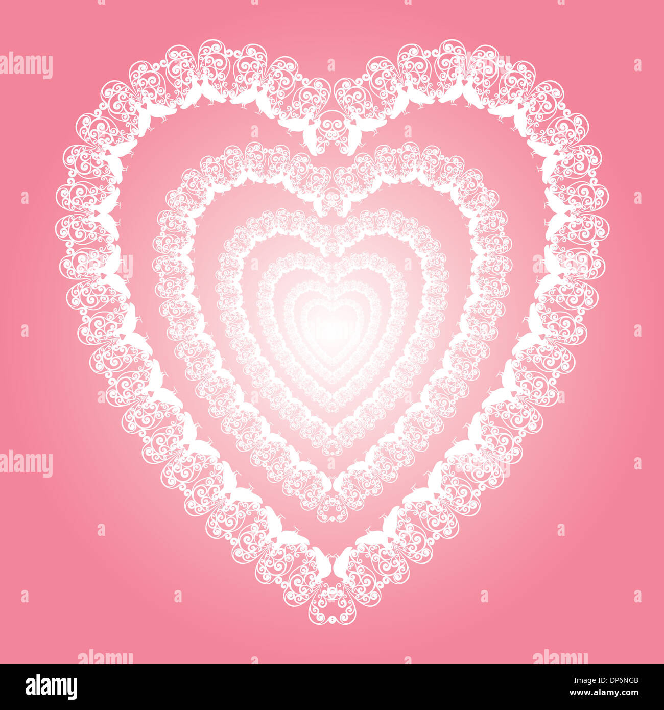 shining lace heart illustration, Valentines day or wedding card ...