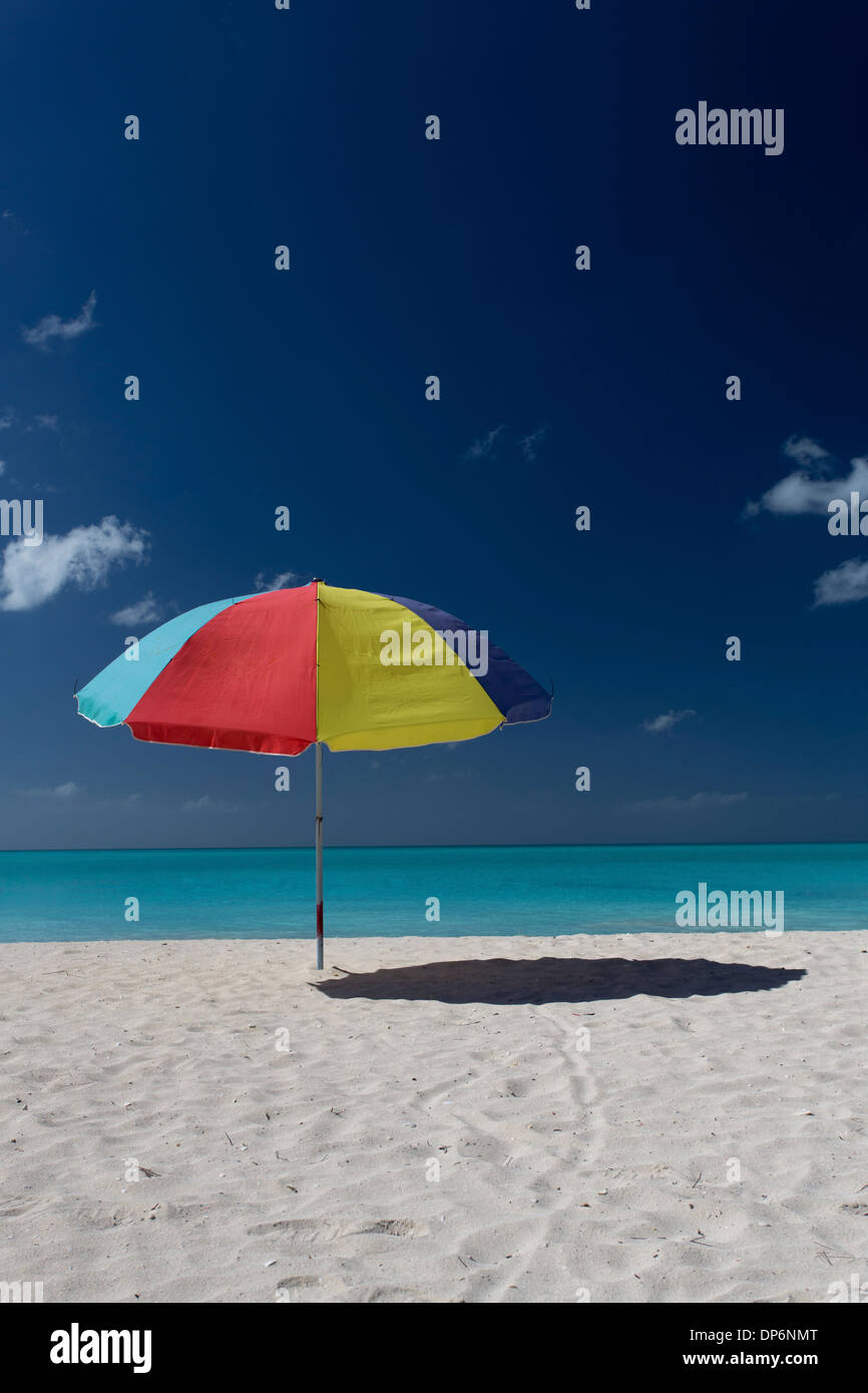 Parasol on Jolly Beach, Tranquility Bay, Antigua - Stock Image