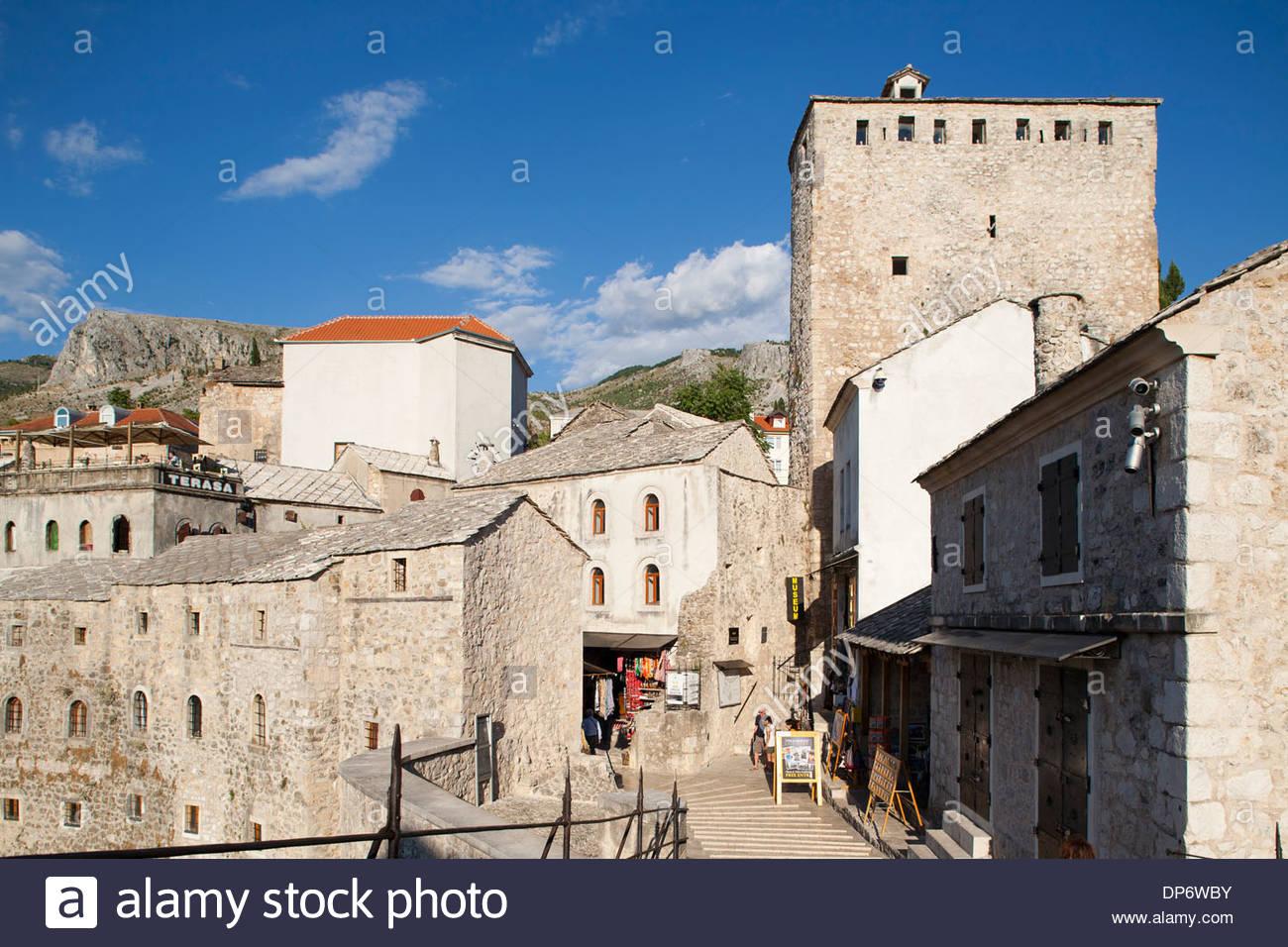 helabija tower and the old bridge,mostar,bosnia and herzegovina,europe - Stock Image