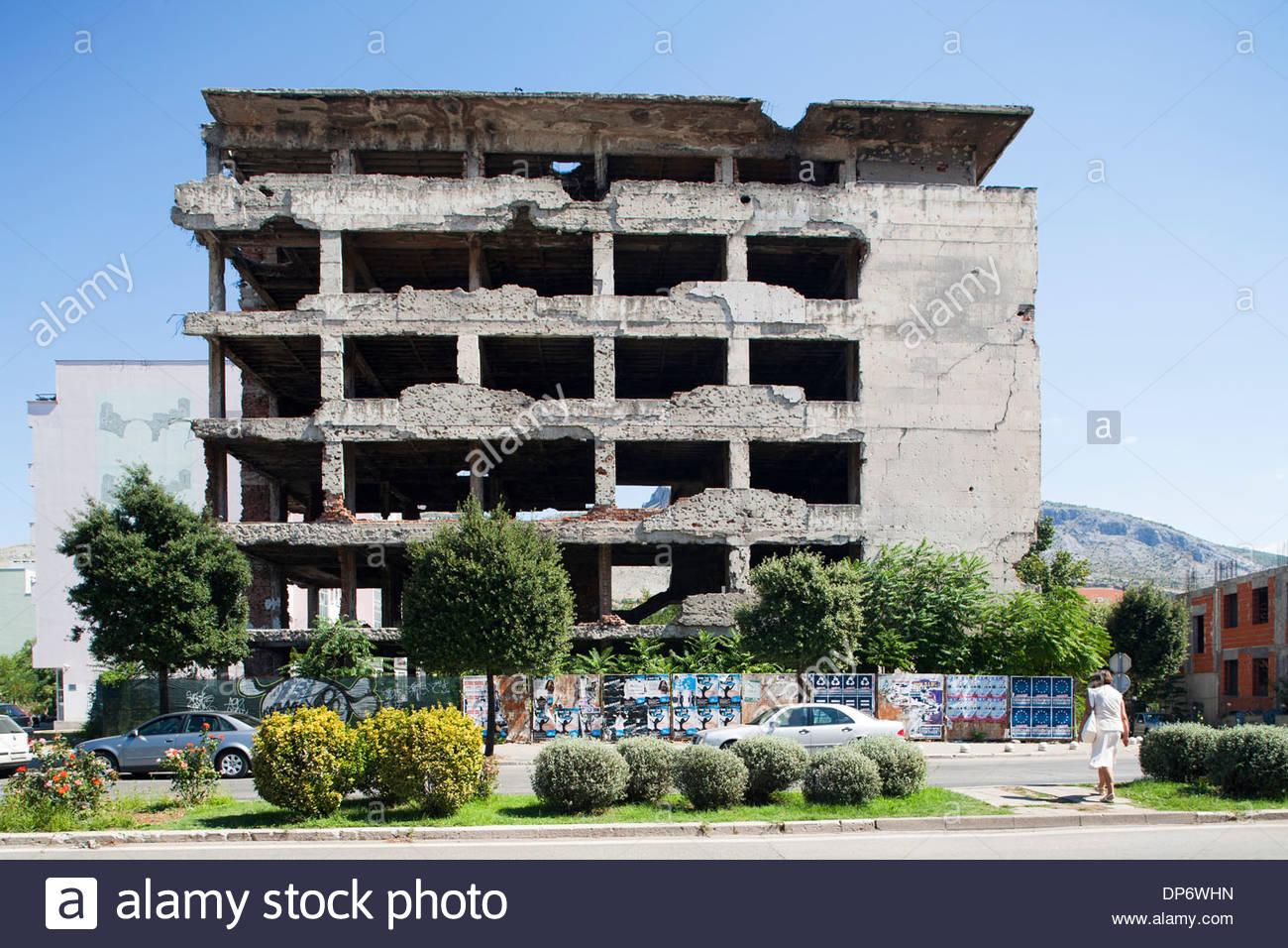 bombed building,west side,mostar,bosnia and herzegovina,europe - Stock Image