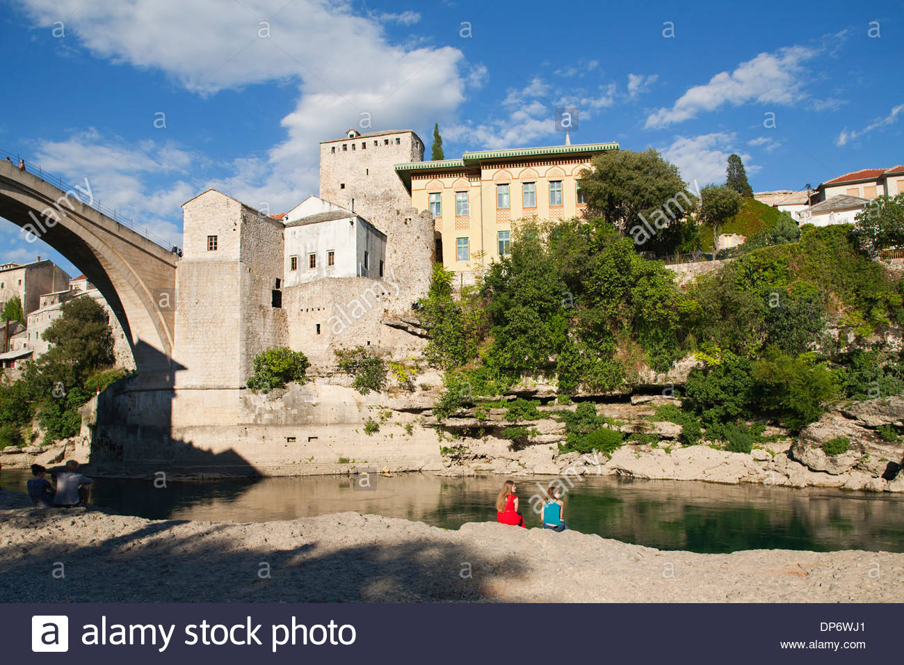 the old bridge and east side of  mostar,bosnia and herzegovina,europe - Stock Image