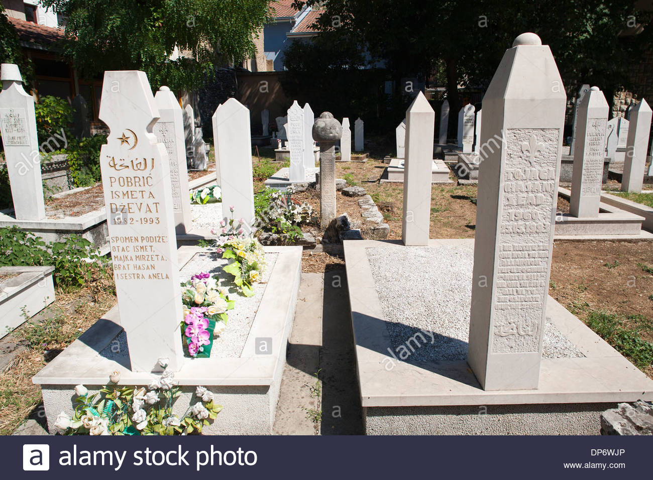 muslim cemetery,old town,east side,mostar,bosnia and herzegovina,europe - Stock Image