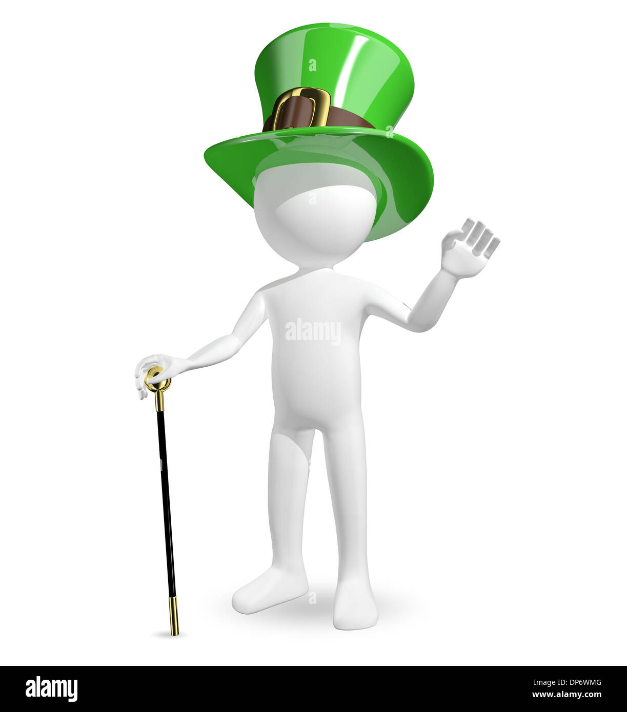 3d illustration man in hat St. Patrick's on a white background - Stock Image