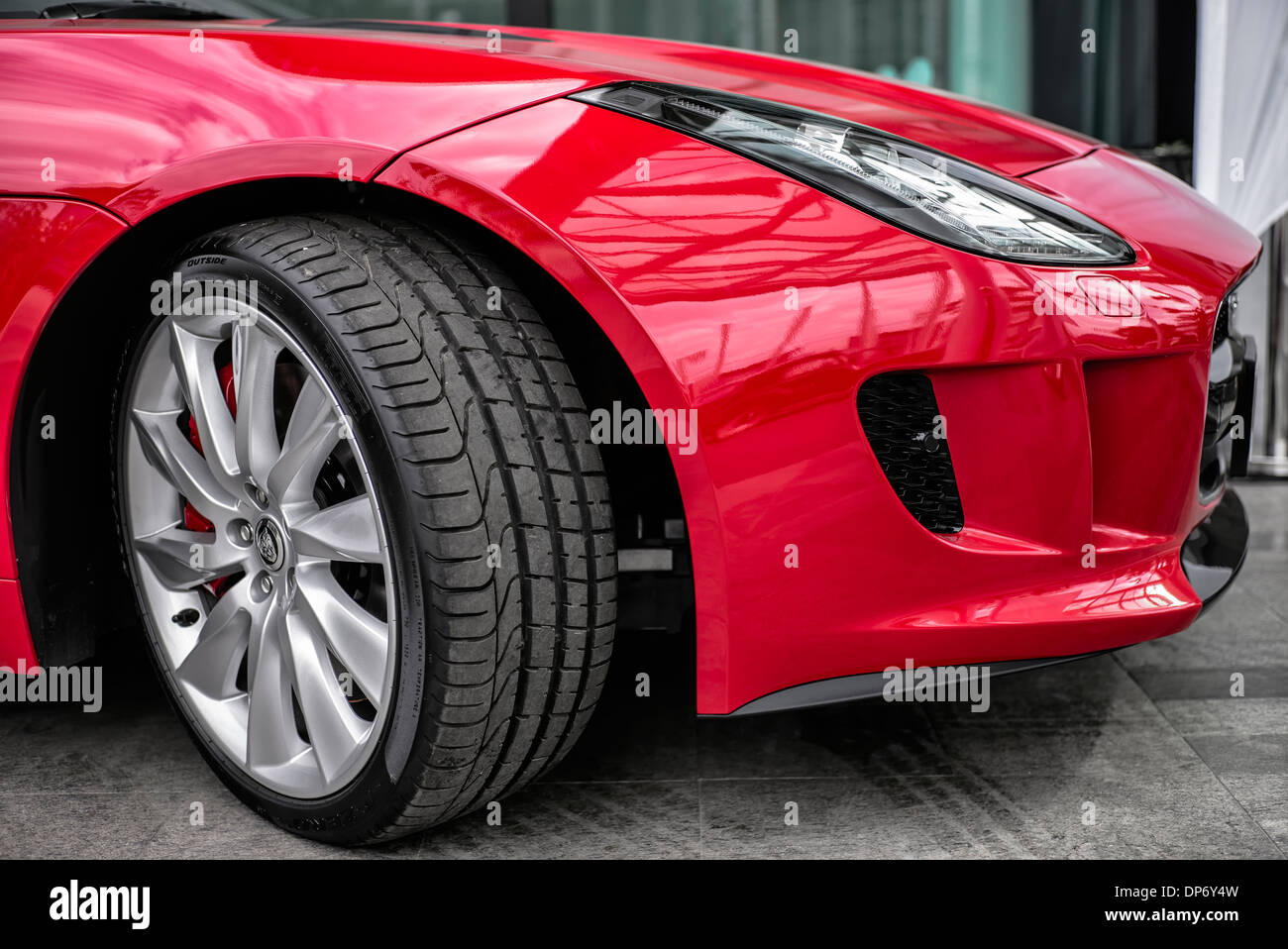 Pirelli P Zero Tyre And Wing Detail Of A Jaguar F Type British Stock
