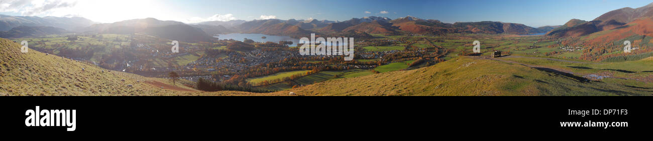 View above Keswick & Derwent Water in the Lake District National Park with the Northern Fells in background. Autumn - Stock Image