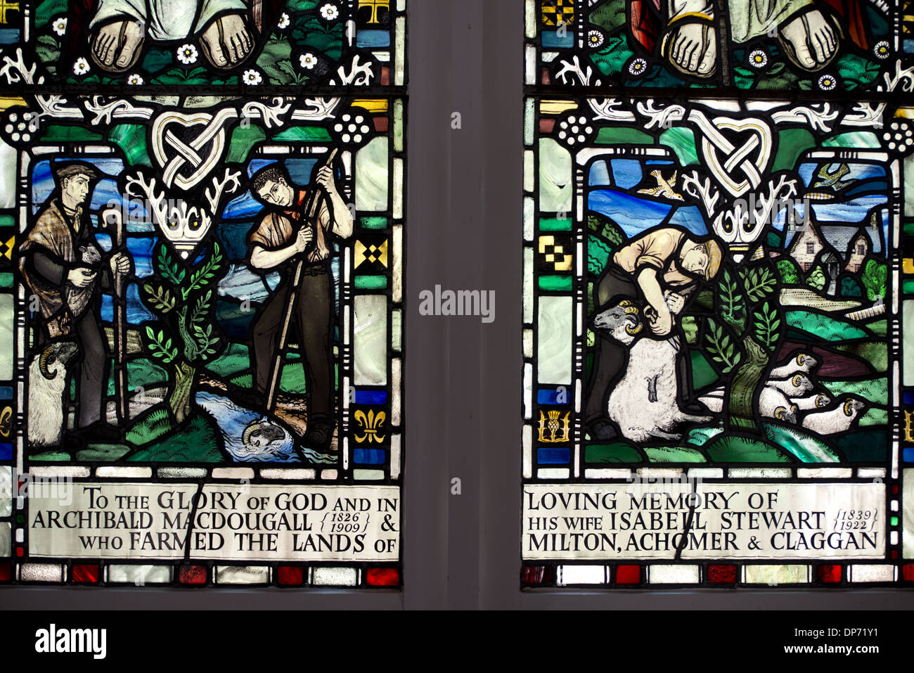 Stained glass window depicting farming (in memory of Archibald MacDougall and Isabell Stewart) Kenmore Kirk Kenmore Trossachs - Stock Image