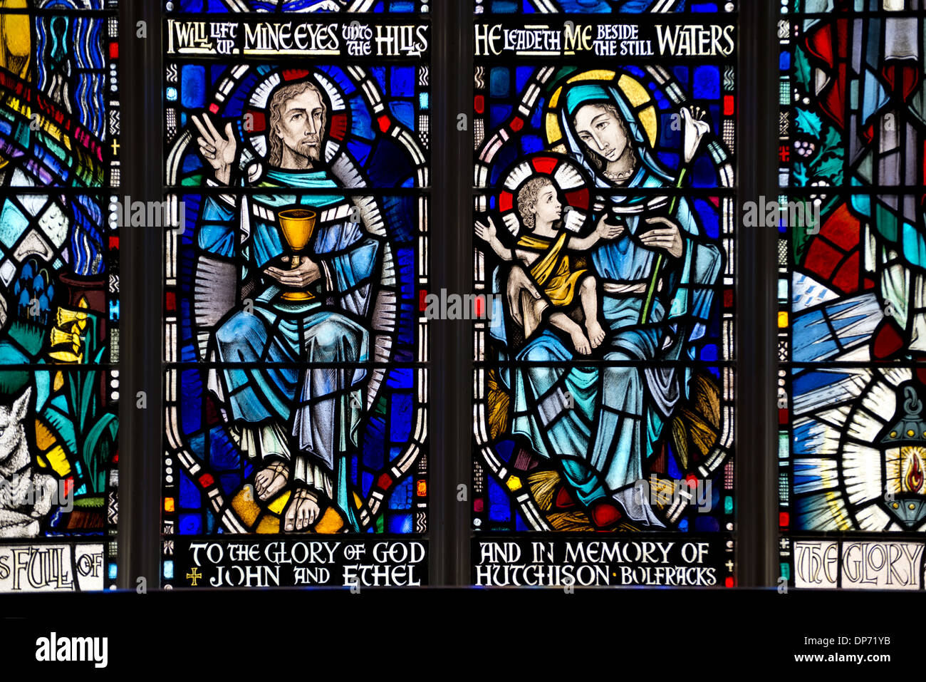Stained glass window depicting Mother and Child and Jesus (in memory of John and Ethel Hutchison) Kenmore Kirk Kenmore - Stock Image