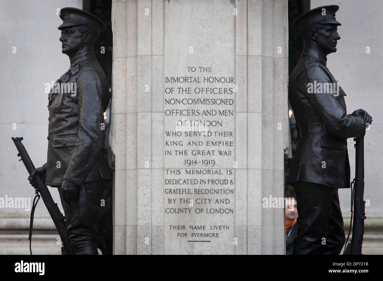 War memorial hero in Cornhill, City of London remembering those killed in the First World War. - Stock Image