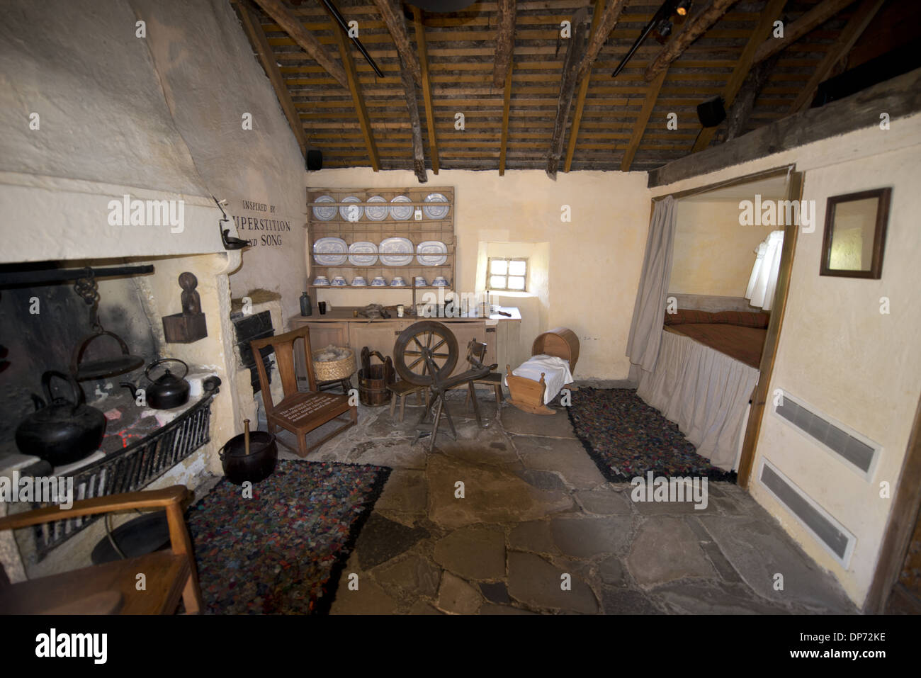 Main bedroom, Burns Cottage, Robert Burns Birthplace Museum, Alloway, Ayrshire, Scotland, July - Stock Image