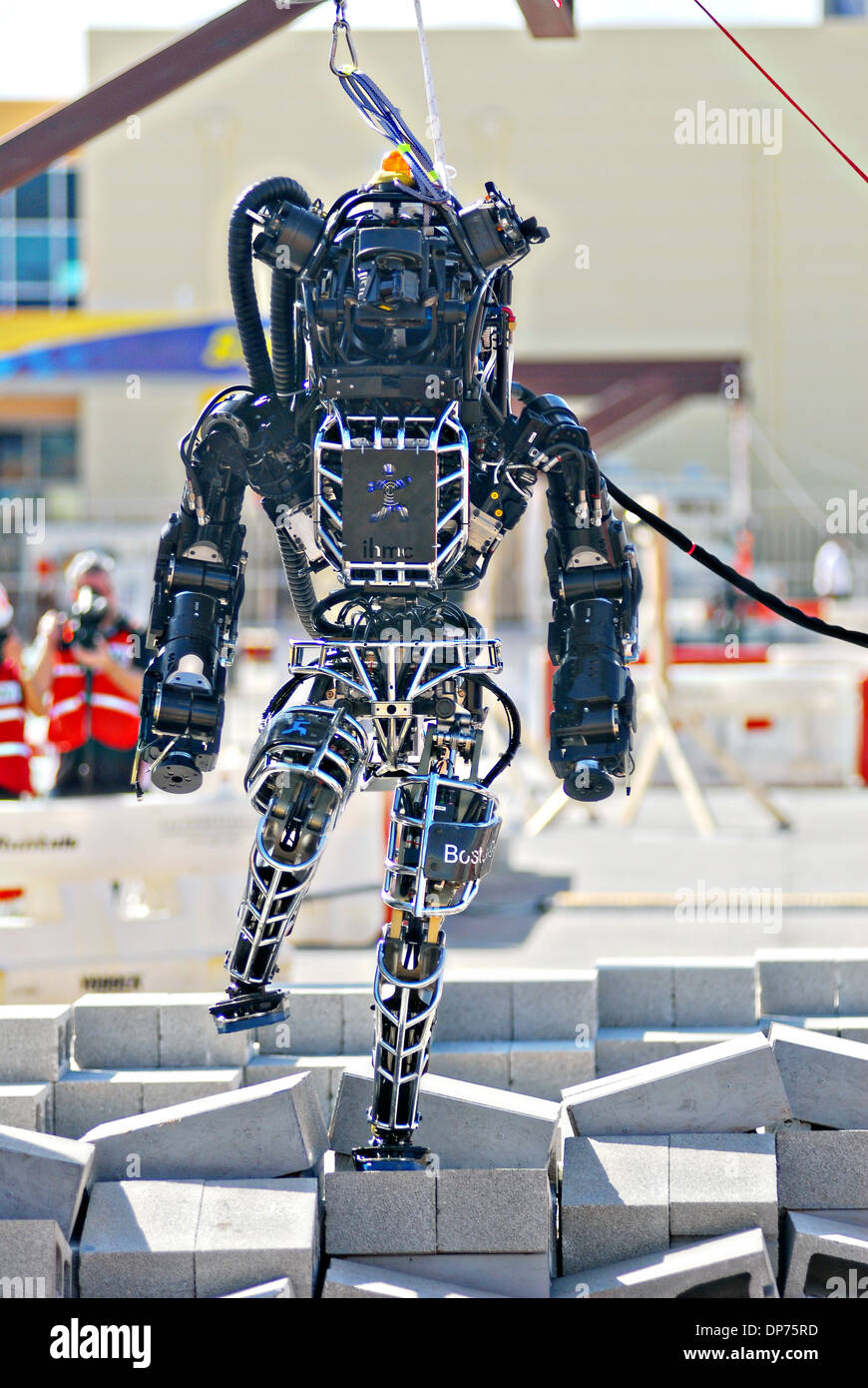 Ian, an Atlas robot with the IHMC Robotics team during the DARPA Rescue Robot Showdown at Homestead Miami Speedway - Stock Image