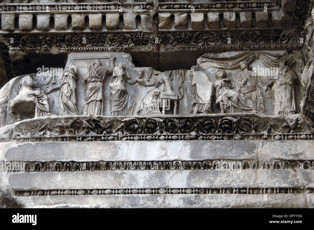 Italy. Rome. Forum of Nerva or Transitorium. The Colonnacce.  Entablature with frieze showing scenes of Myth of Arachne. - Stock Image