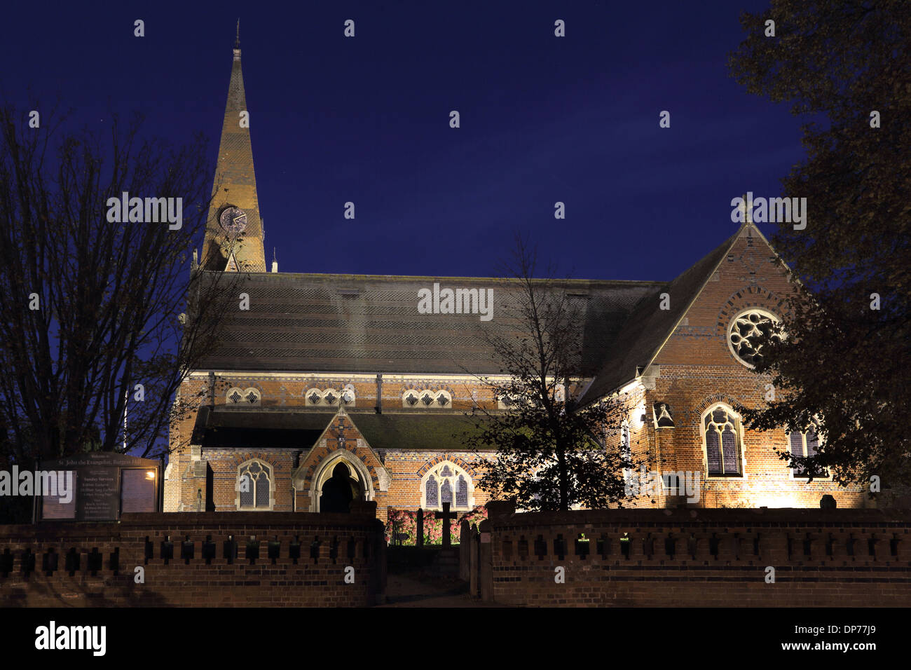 led lighting on st john s church burgess hill stock photo 65313201