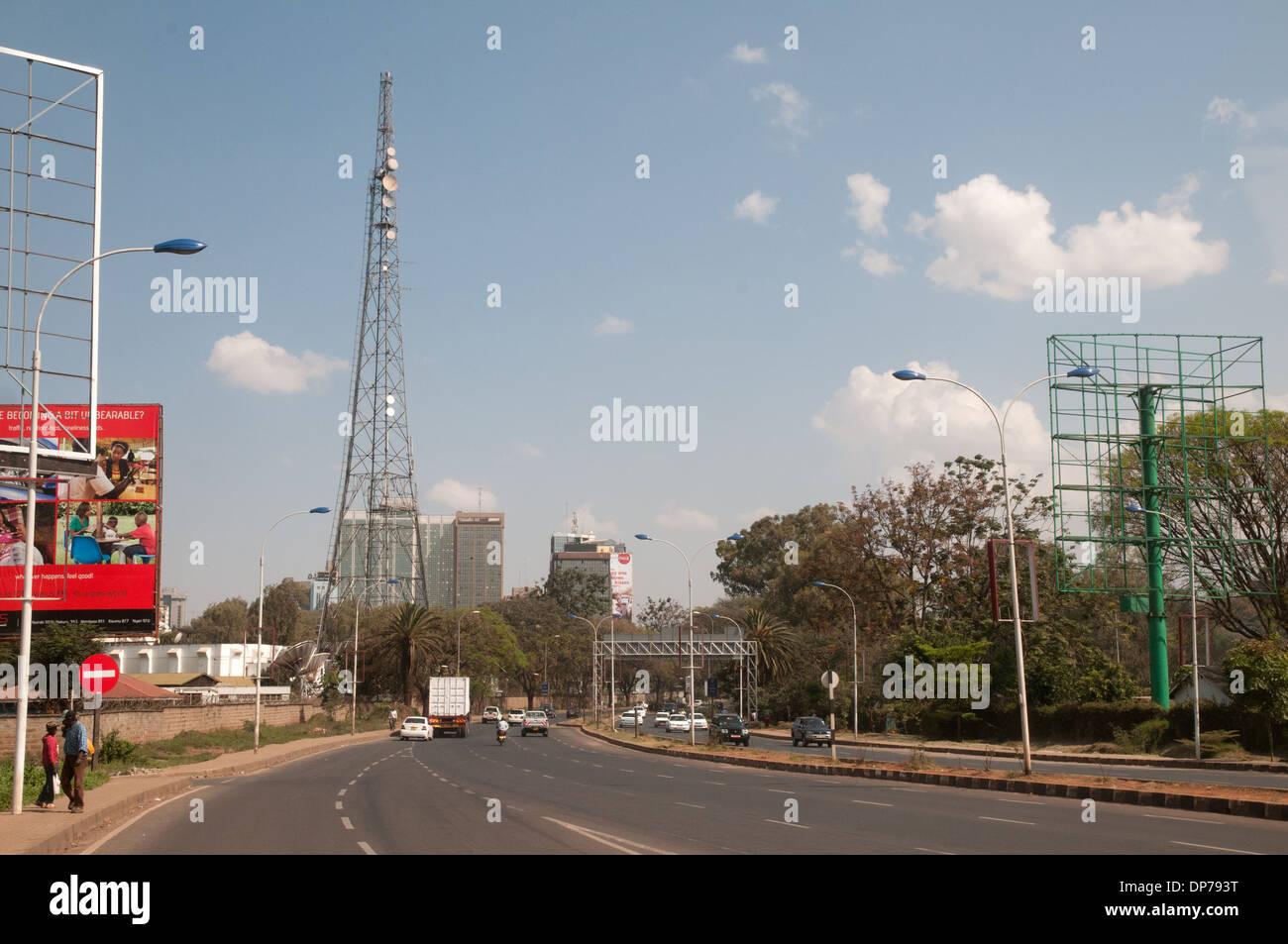 Voice of Kenya radio and communications tower on Uhuru Highway Nairobi Kenya Africa - Stock Image