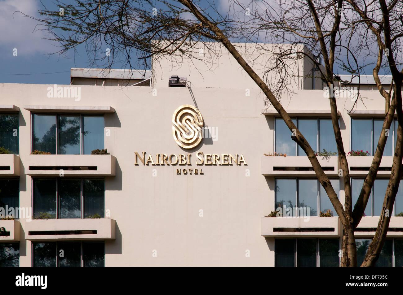 Logo on exterior of Nairobi Serena Hotel Nairobi Kenya Africa - Stock Image