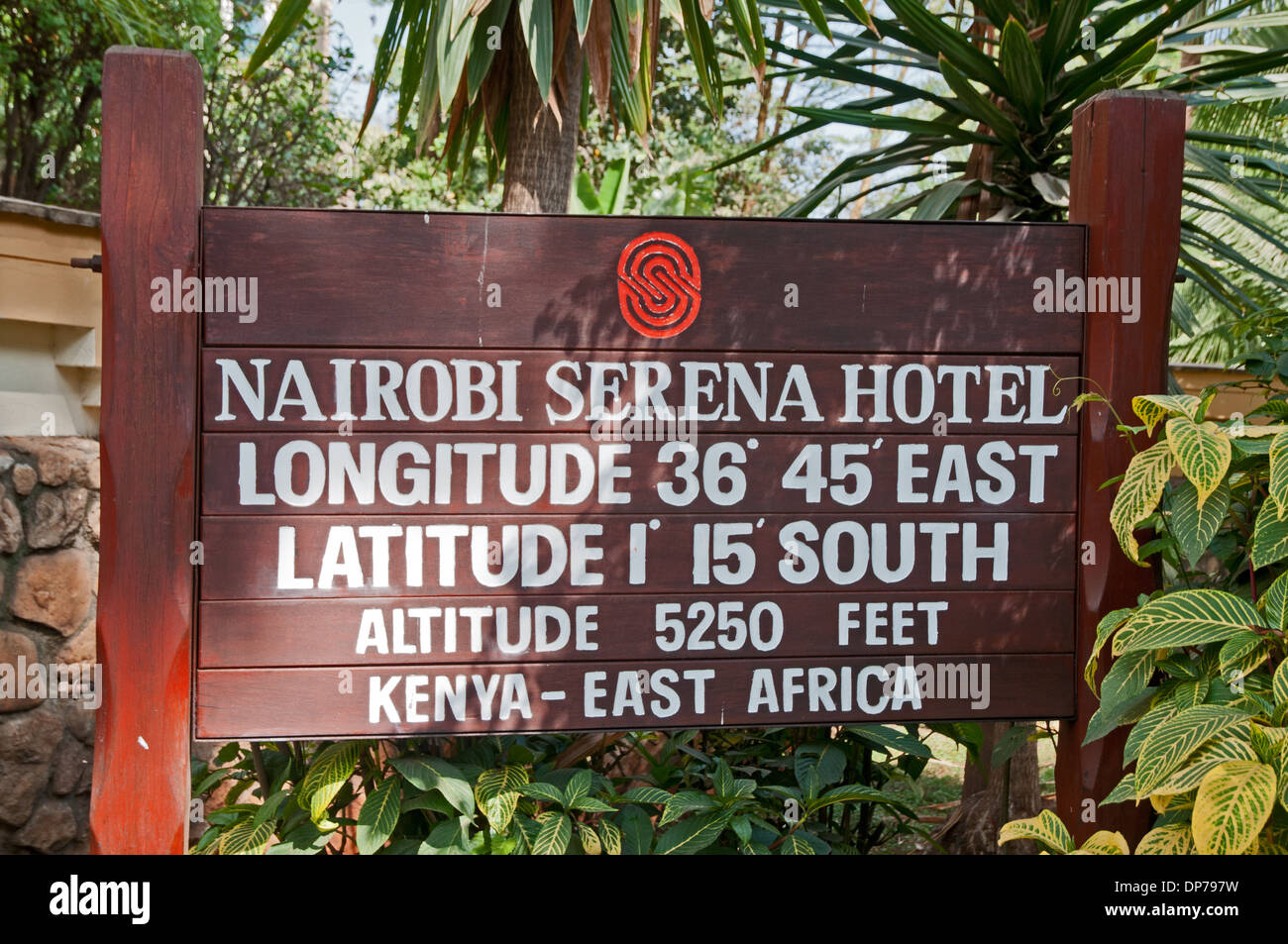 Notice board at entrance to Nairobi Serena Hotel Nairobi Kenya Africa showing details of altitude longitude and - Stock Image
