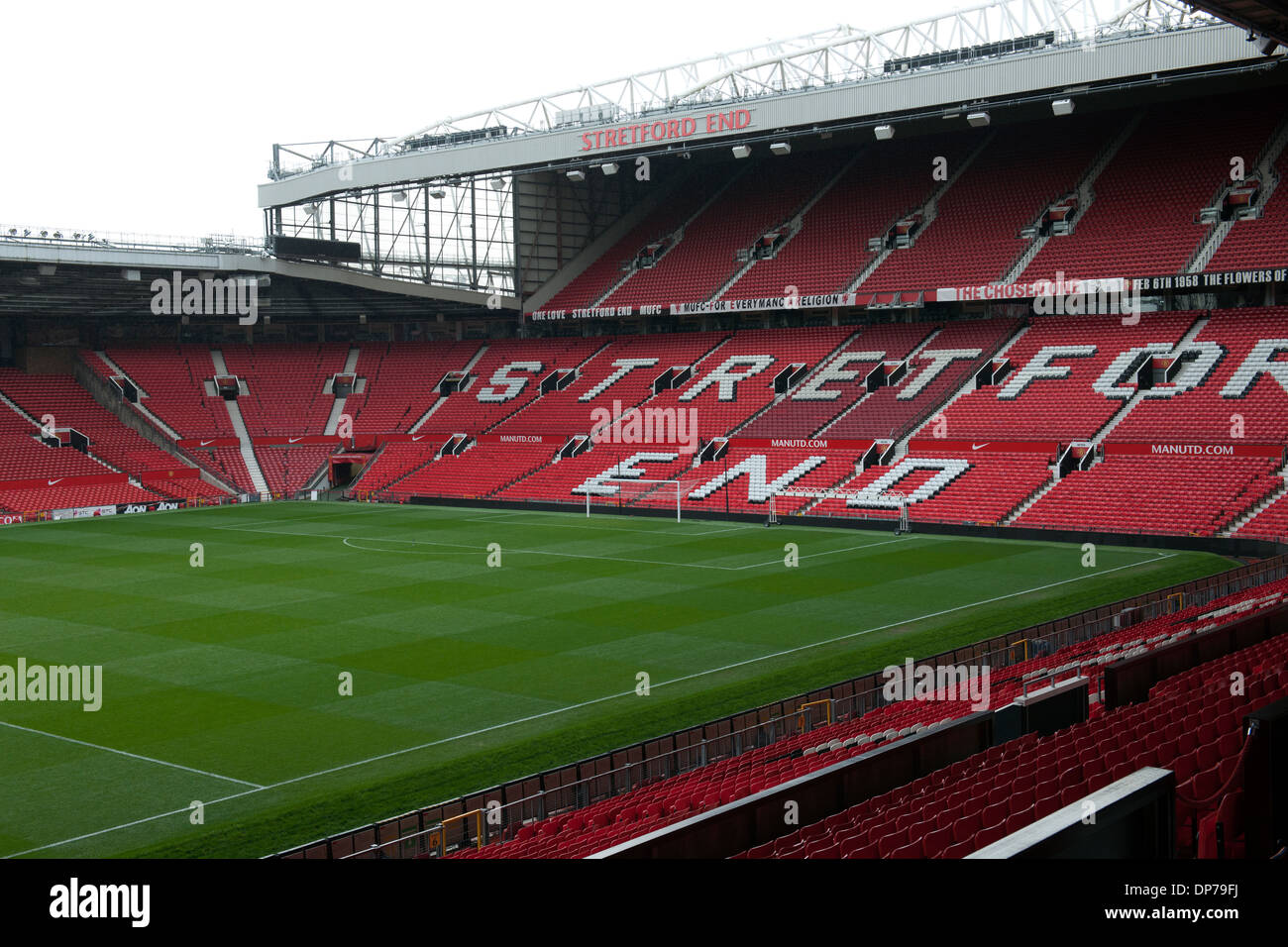 Old Trafford, home of Manchester United Football Club, Manchester, England, UK.; view of the Streford End Stand. - Stock Image