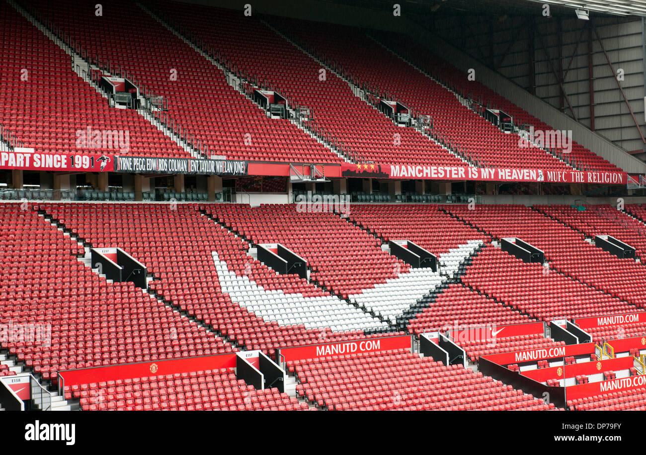 Old Trafford, home of Manchester United Football Club, Manchester, England, UK.; view of seating. - Stock Image