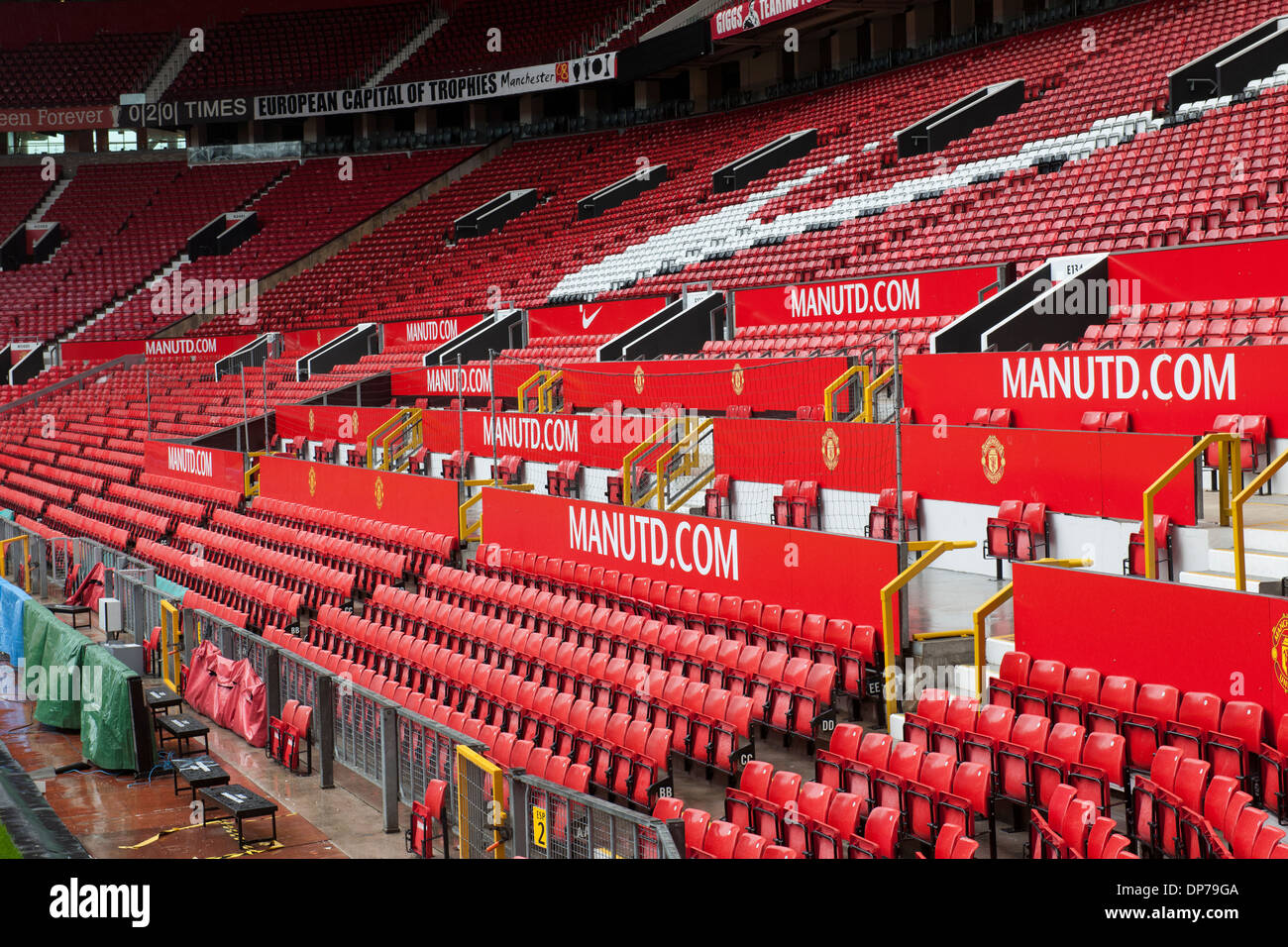 Old Trafford, home of Manchester United Football Club, Manchester, England, UK.; view of stadium seating. - Stock Image